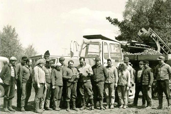 """Kartoffeln legen um 1980 in der LPG """"Hermann Hagendorf"""""""